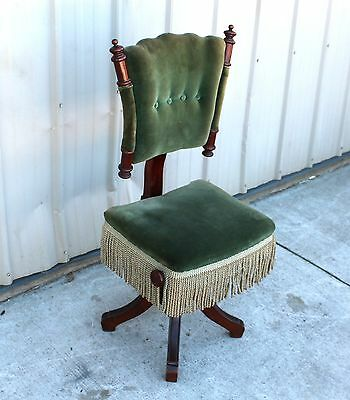EXTREMELY RARE CHERRY 1870s VICTORIAN HIGHBACK ADJUSTABLE ORGAN PIANO STOOL