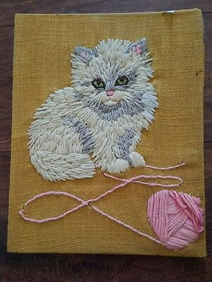 Vtg Finished Avon Needlecraft Crewel Embroidery Playful Kitten white persian cat