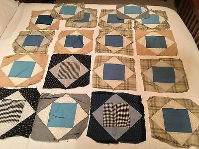 "Lot of 42 Antique Quilt Blocks Early 1900s Primitive 12"" Square Quilters"