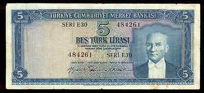 riotis 4525: TURKEY very RARE SERIES E30, 5 LIRASI 1959, P-155 - EMISYON 5.