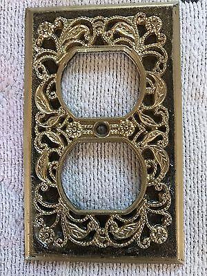 Used Vintage Brass Filigree Receptacle Outlet Plate Cover single