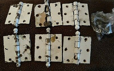 6 vintage ball hinges 3 1/2 square with some screws