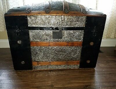 Large Size Metal Dome Top Antique TrunkOver 100 Years Old