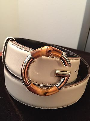 GUCCI Bamboo Light Gold Buckle Belt Ivory Leather Size 90/36 AUTHENTIC