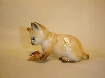 Siamese Cat Figurine with Leaf Fine Bone China Cats of Character Collection