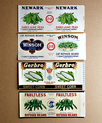 Lot of 4 Vintage Vegetable Can Labels – Unused