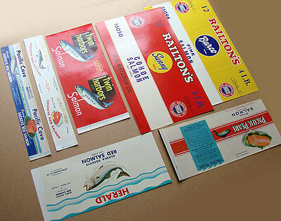 Lot of 7 Vintage Salmon Can Labels – Unused