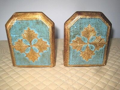 Vintage Italian Florentine Turquoise Gold Gilt Tole Folding Brass Wood Bookends