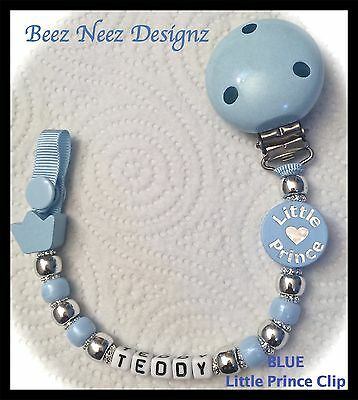 ♕ PERSONALISED Your Name Choice MAX 9 Letters ♕ LITTLE PRINCE Blue♕ Dummy Clip ♕