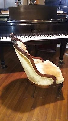 19th Century Antique Victorian Carved Walnut Chair, Velvet Upholstery
