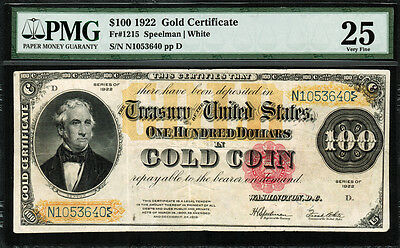 1922 $100 Gold Certificate FR-1215 - Graded PMG 25 - Very Fine