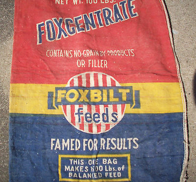 Vintage FoxCentrate Foxbilt Feeds 100 LBS Feed Bag/Sack