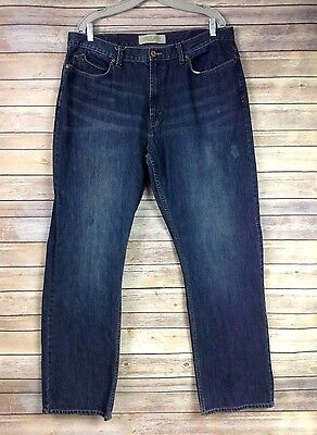 Wrangler Mens 38X32 Straight Fit Dark Wash Jeans 38X34 Actual **FLAWS**