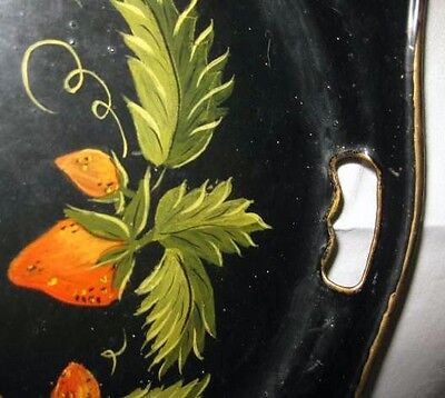 old vintage HAND PAINTED TOLE Serving TRAY Delicious STRAWBERRIES 21x16 pretty !