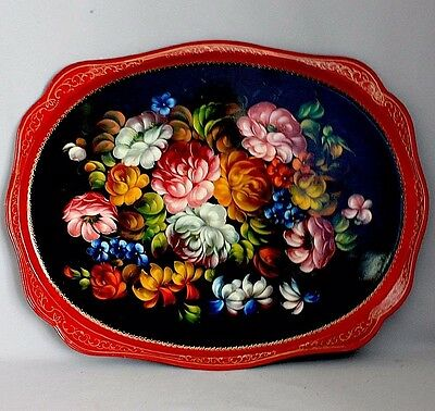 """Large 24"""" x 18"""" Vintage Hand painted Russian TOLEWARE TRAY Zhostovo?"""