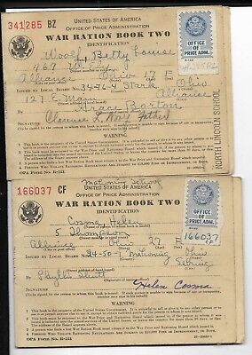 Group Of War Ration Books From Massillion,ohio In Holder 9 Books