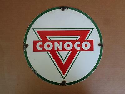 Conoco Porcelain Advertising Sign Oil Gas Gasoline Station Pump Plate