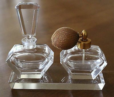 Vintage PERFUME VANITY Set Clear PERFUME BOTTLE Atomizer Tray Crystal Glass
