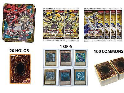 Yugioh Tin Repack! 6 Booster Packs, 20 Holos, 100 Commons + more!