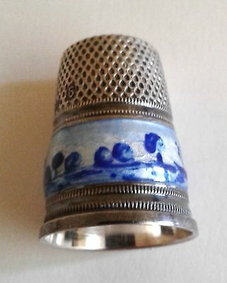 Sterling Silver & Enamel Thimble Germany