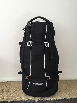 ONE PLANET Wheelie 60 - travel backpack and wheelie luggage in one! RRP$299