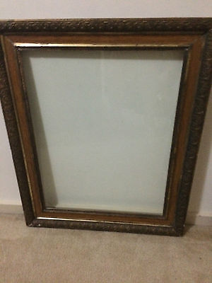 Large Antique Gilt And Wood Frame With Glass Insert