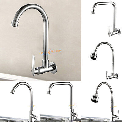 360° Rotating Kitchen Sink Basin Swivel Tap Cold Chrome Single Hole Faucet NEW