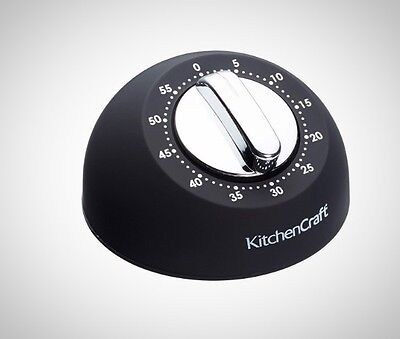 KitchenCraft Soft Touch Mechanical 1 Hour Kitchen Timer Cooking Food Prep Black