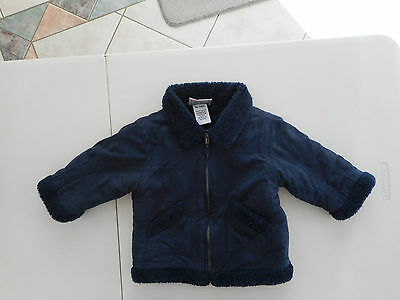 Chill Out Rothschild blue baby boys jacket Size 0 extra warm faux suede & wool