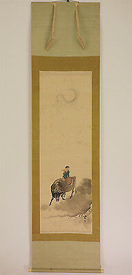 """Japanese Hanging Scroll """"Moon and Boy on Cow""""  @d261"""