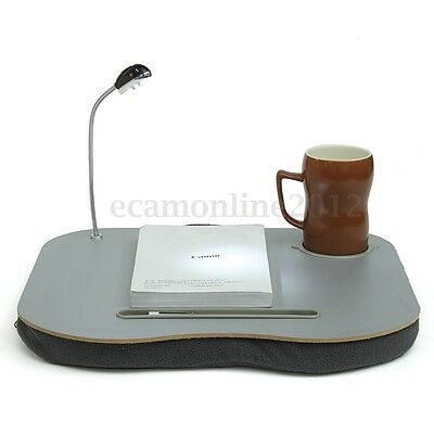 Laptop Cushion Knee Lap Computer Reading Table Tray Cup Holder With 5 LED Light