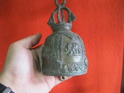 Antique Thai Bell Elephant Buddha Clapper Sound Temple Hanging Décor Collect #2