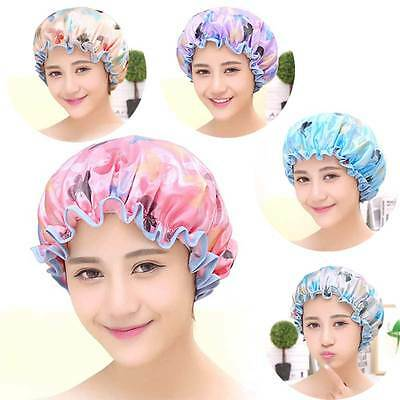 Women Waterproof  Lace Hat Protect Hair Bath Time Shower Cap Bathing Hair Cover