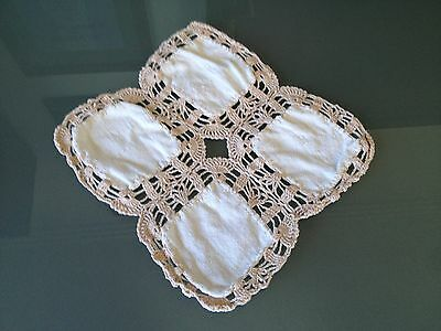 Vintage Crochet Side Table Covers x 3 Pieces Cream in Colour