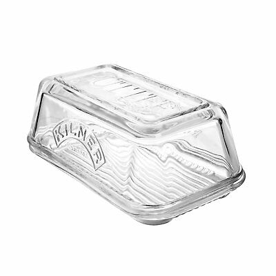 Kilner Glass Butter Dish Vintage Butter Serving Tray with Lid Clear