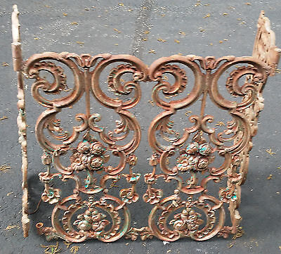 Vintage Fireplace Screen Decorative Cast Iron with Copperized Patina