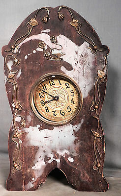 Antique germany Alarm Clock Art Nouveau Jugendstil Wood Bronze Brass Ornate ASIS