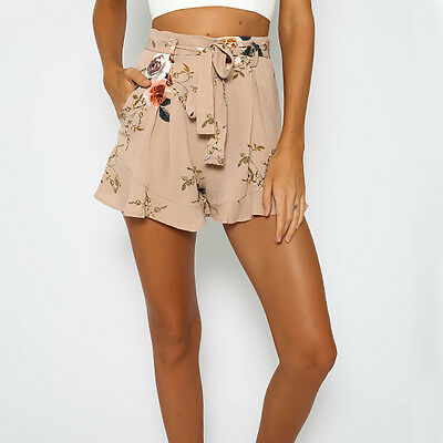 New Womens Floral Print High Waisted Flared Hot Pants Skirt Zip Shorts Size S-XL