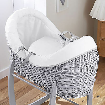 New 4Baby White Shooting Star Grey Wicker Crossover Noah Pod Moses Basket