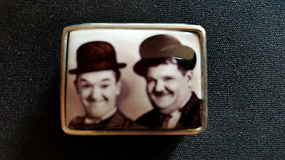 Enamel Antique Style Laurel And Hardy Pill Box 925 Solid Sterling Silver