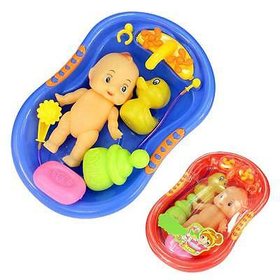 Baby Doll in Bath Tub With Shower Floating Fun Time Kids Pretend Role Play Toys