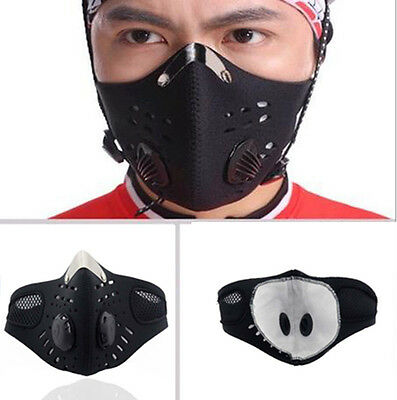 Carbon AntiDust Motorcycle Bicycle Cycling Bike Ski Sports Half Face Mask Filter