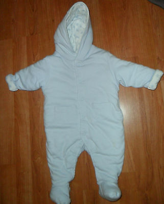 Baby Boys 0-3 Month Warm Cosy Blue Cotton Snowsuit Mothercare