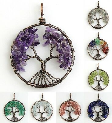 Natural Amethyst Amazonite Rose Quartz Tree of Life Chakra Pendant For Necklace