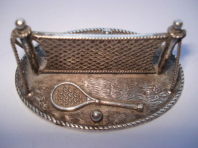 C1890S Vintage Unusual Tennis Net,rackets & Balls Silver Plated Table Knife Rest