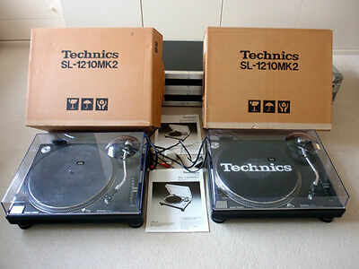 2 x TECHNICS SL-1210MK2 TURNTABLES - WITH ORIGINAL BOXES, MANUALS & LIDS - USED