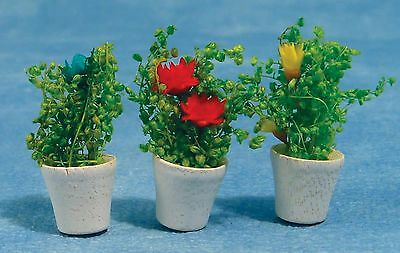 1:12 Scale Three Flower In Plant Pots Dolls House  Accessory 088