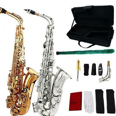 School Professional Brass Gold Alto Eb Sax Saxophone+Case +Mouthpieces T0H4
