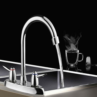 Swivel Dual Handle Hot & Cold Kitchen Sink Basin Pull Out Spray Mixer Tap Faucet