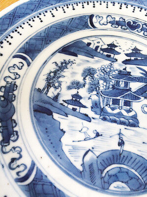 Antique Chinese Blue & White Plate Dish Qing Dynasty Kangxi 1622 -1722